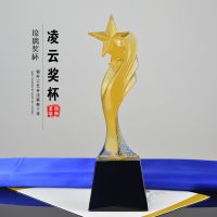 上海五星琉璃奖杯 核心经销商奖杯 单位年终评优奖杯定制 免费排版刻字