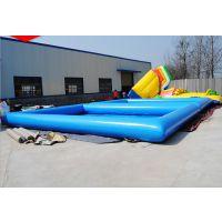 工厂订做充气游泳水池 充气户外多人游泳水池 室外水滑梯水池高度多高