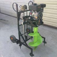普航四轮带电线杆打洞机 手提式汽油钻眼机 框架式50公分挖坑机价格