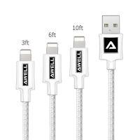 苹果数据线 新款尼龙编织金属贴片数据线 2米3米iPhone手机USB充电线
