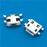 MICRO USB母座5PIN沉板0.8MM四脚沉板SMT卷边黑胶 PCB-创粤