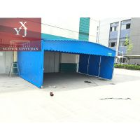 天津市静海区推拉雨棚活动雨篷伸缩移动蓬 布大排档雨棚大型工厂帐篷停车雨蓬