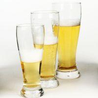 广州厂家定制logo个性收腰小麦啤酒杯、人工吹制650毫升玻璃洋酒杯