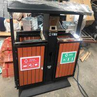 加厚钢木分类垃圾箱生产厂家