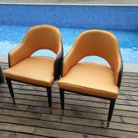 上海星级酒店包厢家具 度假酒店休闲餐椅会所金属仿木椅