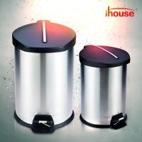 ihouse12升不锈钢脚踏式垃圾桶有盖不锈钢纸篓家用卫生间厨房客厅
