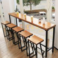 批发酒吧高脚桌椅 长条复古做旧铁艺吧台酒吧靠墙实木桌椅组合