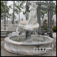 汉白玉美人鱼流水喷泉庭院小区摆件