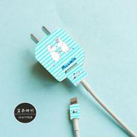 苹果5/6/7/PLUS手机充电器贴纸iPhone电源插头卡通贴膜 支持定制