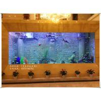 溧阳大型亚克力鱼缸定做办公室屏风家庭玄关高清水族工程索浦