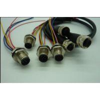 M12防水连接器传感器,直头弯头,自带电缆,针型孔型,带电缆长度任选