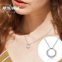 2017新款时尚项链 S925银 圆形吊坠女式时尚韩国流行首饰品厂家直销一件代发