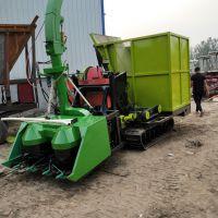 履带式多功能秸秆粉碎靑储机 干湿两用玉米秸秆青贮粉碎收获机