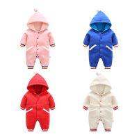 新款婴儿服装连体衣冬装加厚宝宝新生儿保暖秋冬外出棉服连帽卫衣