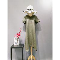 时尚休闲大码潮牌麻本色夏装连衣裙折扣走份女装拿货批发