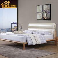 北欧全实木床1.8米双人床现代简约床日式主卧1.5m白蜡木公主床卧室家具美式仿真皮白蜡木婚床