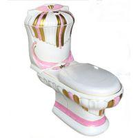 别墅高档装修欧式浮雕彩色彩金华丽陶瓷马桶座便器