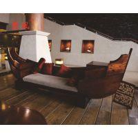 厂家西式北欧西餐咖啡厅实木沙发卡座船型沙发 复古酒吧可定制