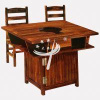 松木火锅桌 户外防腐木农家乐餐桌椅 古典中式碳化木吊锅火锅桌