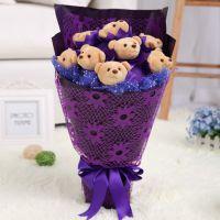生日礼物情人节礼物浪漫小熊玩具发光花束短毛绒制作