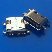 TYPE-C 16P 单排沉板 0.8 1.6 USB3.1连接器 L=6.5 四脚沉板 接头接口