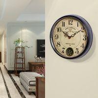美式金属静音挂钟 创意时尚客厅装饰立体数字挂表 摇摆壁钟表批发