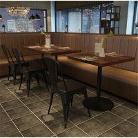 现代简约小户型餐桌椅组合奶茶店咖啡厅小方桌卡座实木餐厅桌椅