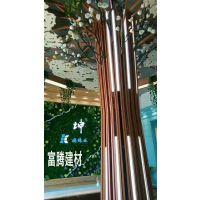 酒店商场餐饮店幕墙造型铝方通弧形木纹色铝方通造型树