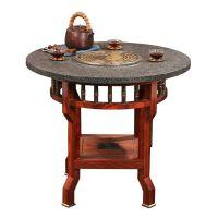 两仪小茶桌新中式乌金石纯铜实木茶盘定订制铜艺新中式