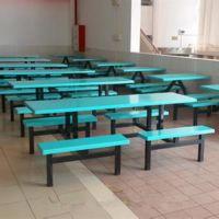 东莞康腾供应厂家直销工厂食堂 玻璃钢餐桌椅价格支架材质:铁方通、镀锌管、不锈钢管