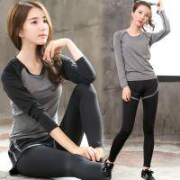 秋冬季健身服运动两件套装女士显瘦速干跑步瑜伽服长袖假两件长裤