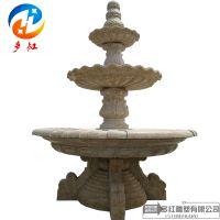 石雕庭院喷泉风水球流水摆件黄锈石欧式喷泉户外园林景观小区雕塑