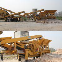 有钢花岗岩移动碎石机成功发车湖南岳阳 郴州河砂车载加工设备