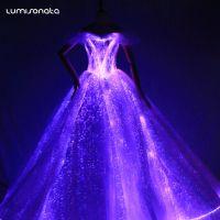 厂家免费设计时尚光纤夜光婚纱 供应新郎新娘智能夜光婚庆礼服