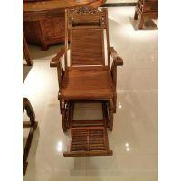 中山红木家具红木躺椅刺猬紫檀摇椅阳台折叠椅云鑫臻品