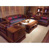 广作中式沙发刺猬紫檀江南沙发123六件套名琢世家