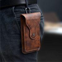 PULOKA双层男士手机腰包皮套挂腰PU疯马纹复古户外手机钱包
