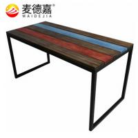 上海厂家供应复古彩色条纹铁艺桌子欧式咖啡厅松木餐桌美式简易休闲餐桌椅,麦德嘉MFCZ03