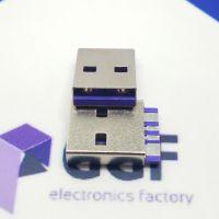 USB2.0AM焊线式公头可过5A电流—A公4P单面焊线式宽P脚(紫色胶芯3~5A)