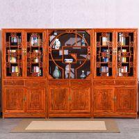 红木书柜书架组合实木刺猬紫檀明式素面书橱花梨木雕花书柜展示架