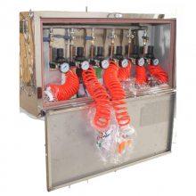 压风自救器(装置)用于煤与瓦斯突出的煤矿井下火灾防护,安装在峒室内,有人员流动的井巷,也可安装在掘