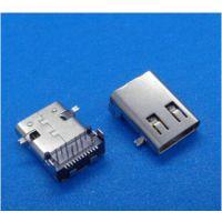 Type-C母座前插后贴 无后盖 USB 3.1 板上母座24P 带定位柱 有凸包