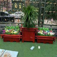 河北绿美供应防腐木道路组合花箱 碳化木花盆树槽马路花坛种植箱