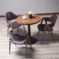 复古咖啡厅桌椅组合甜品奶茶店桌椅美式主题西餐厅餐椅铁艺A字椅
