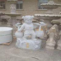 直销大理石仿古雕刻招财进宝童子园林景观石雕工艺品装饰摆件