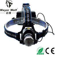 供应厂家批发 大功率led充电头灯 户外探明强光远射钓鱼灯狩猎灯