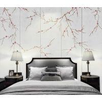 酒店皮革软包壁画订制 现代中式手绘梅花墙纸 卧室床头背景墙硬包魔方