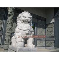 惠安九龙星直销优质石雕狮子 芝麻白汇丰狮 银行门口摆放用品