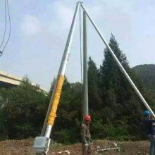 山西运城三角架立杆机使用操作方法 如何操作铝合金三角拔杆 洪涛