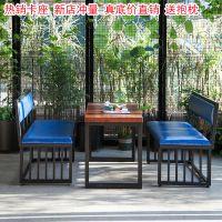 铁艺卡座沙发美式复古西餐厅咖啡厅酒吧桌椅组合批发
